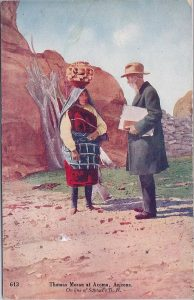 Postcard of Acoma Olla Bearer & Painter T. Moran