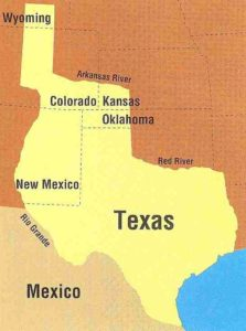 Map of the 1836 Claimed Boundaries of the Republic of Texas